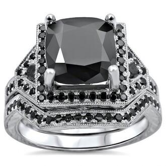 jewels black diamond ring set magnificent 3.10ct cushion cut black diamond engagement ring bridal wedding set bridal ring set wedding ring set black diamond ring engagement ring evolees.com