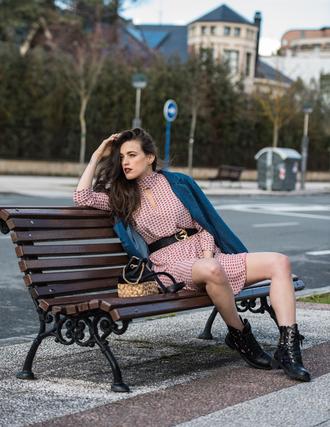 ist by ingrid blogger dress jacket jeans shoes bag belt boots blazer spring outfits