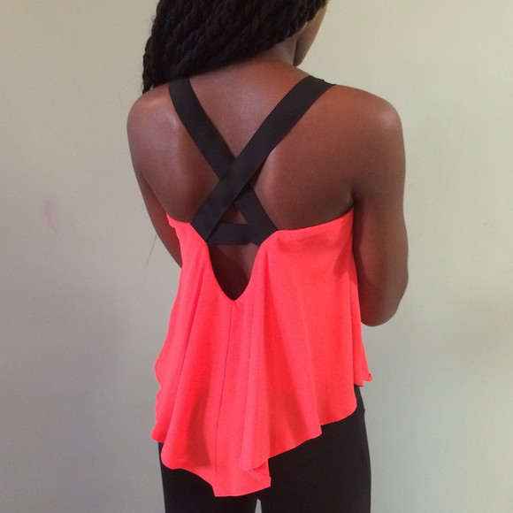 cross back summer top cute top exactly like this one beach fushia neon celebrity