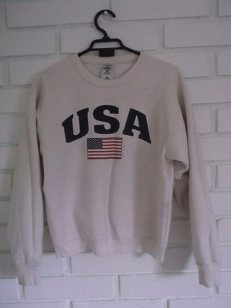 sweater usa white white sweater flag american flag american hipster grunge vintage pullover hoodie brandy melville american flag shirt vintage pullover shirt