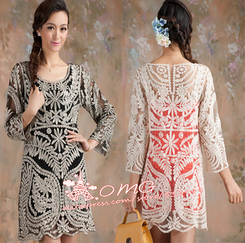 2014 New Hot Semi Sexy Women Sheer Sleeve Embroidery Floral Lace Crochet Dress Top Blouse M~L-in Dresses from Apparel & Accessories on Aliexpress.com