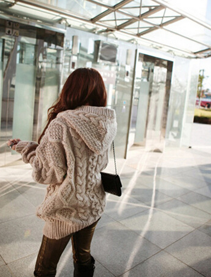 Fashion hot with cap high quality sweater cardigan coats