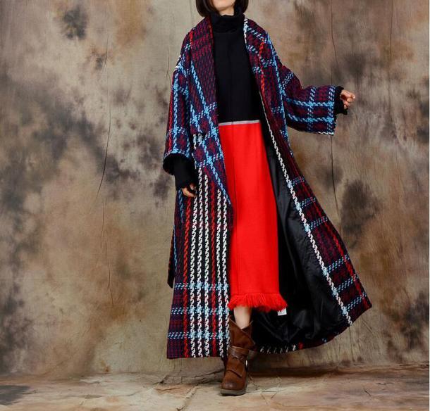 coat wool coat blue plaid