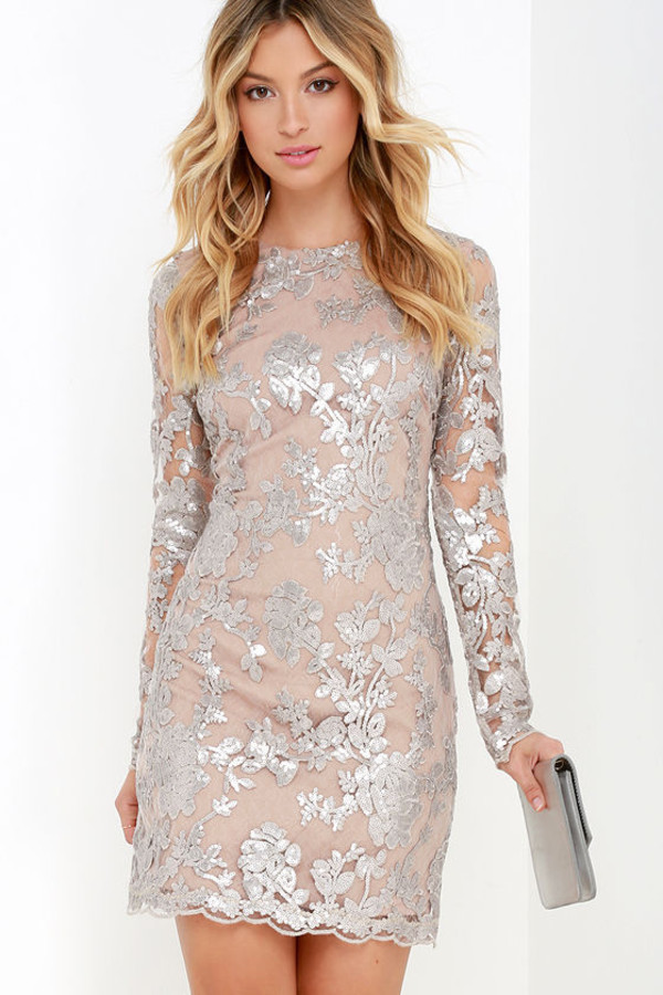 Dress: Occasion, Formal, Formal Dress, Sequins, Wedding Guest, Long Sleeves