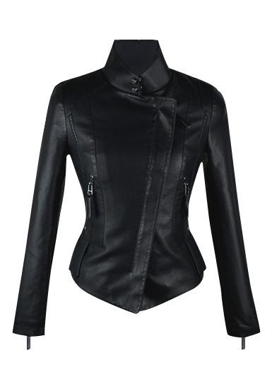 Vegan leather crop jacket