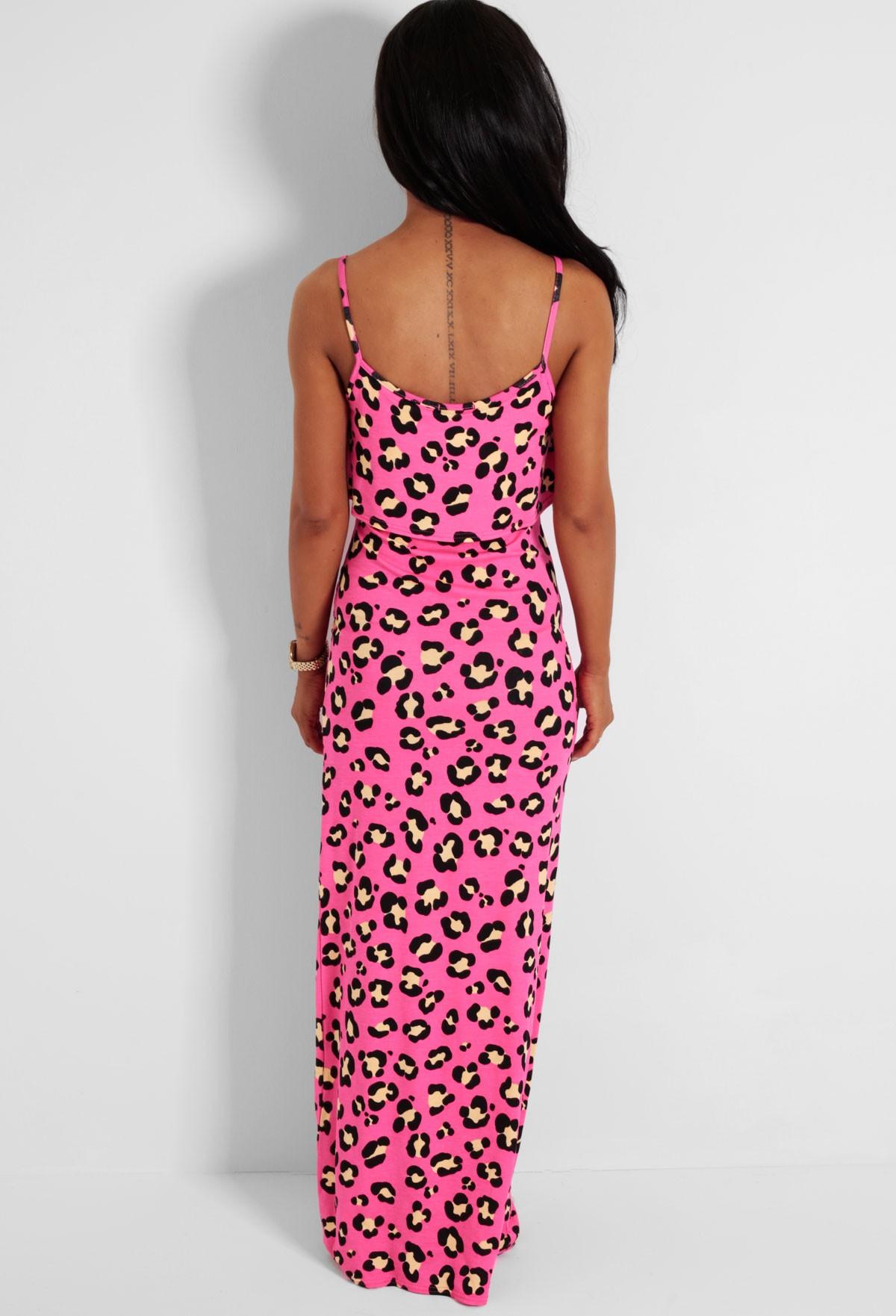 6c489b5eb0 Pink Lady Leopard Print Ruffle Maxi Dress