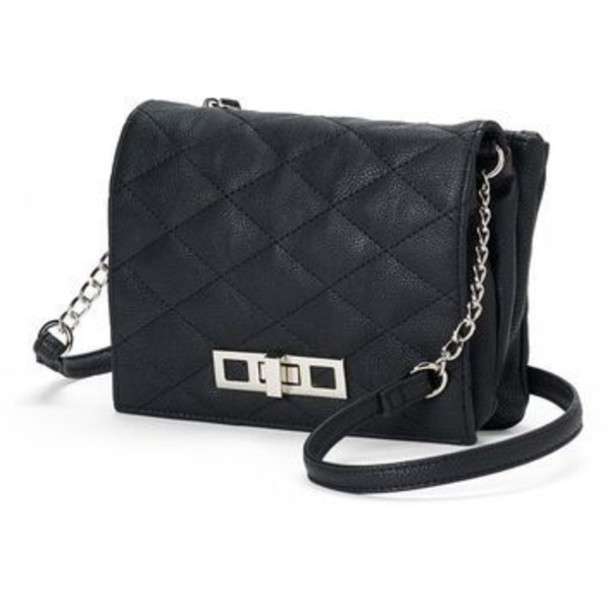 Bag Black Silver Crossbody Bag Quilted Quilted Crossbody Small