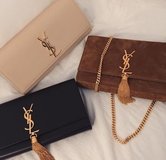 bag purse black nude brown tan saint laurent ysl suede beige