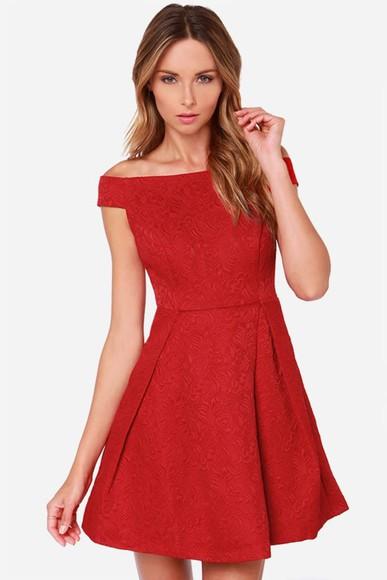red dress off the shoulder dress
