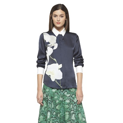 Altuzarra for Target Satin Orchid Print Oxford Shirt- Navy