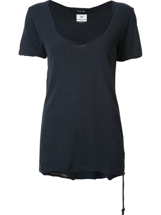 t-shirt shirt women cotton blue silk top
