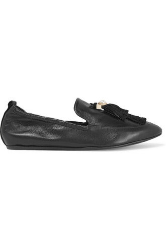 pearl embellished slippers leather black shoes