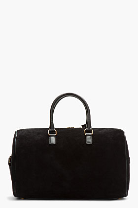 Saint Laurent Black Suede And Leather Duffle 12 Bag for women | SSENSE