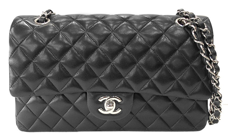 Chanel Black Quilted Lambskin Classic 2 55 Silver Double