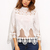 Beige High Neck Appliques Hollow Blouse | MakeMeChic.COM