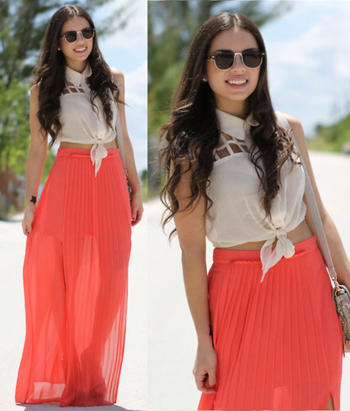 shirt tie up skirt cutout shirt sleeveless maxi skirt coral