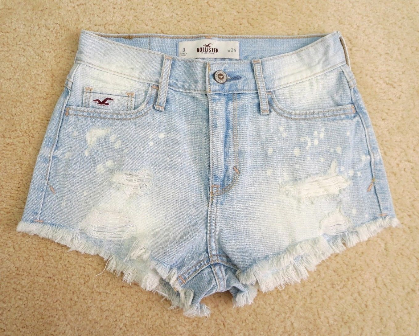 Hollister Womens Denim Destroyed High Waisted Shorts Size 0 Light ...