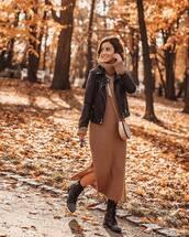 dress,turtleneck dress,midi dress,knitted dress,slit dress,ankle boots,black boots,crossbody bag,black jacket,leather jacket,mini bag,sweater dress