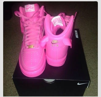 shoes air force ones air force 1 'pink sneakers pink high top sneakers