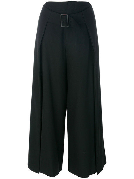 culottes cropped women leather black wool pants