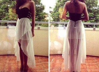 dress black crop top white skirt zip long dress net mesh top no straps style strapless top backless dress bag