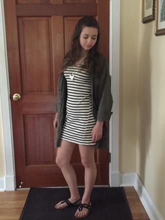 jacket army green jacket striped dress dress sandles