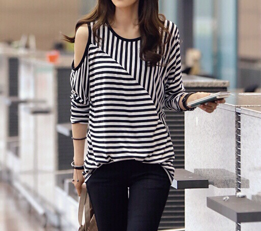 Stripe long sleeve shirt with cutout shoulder