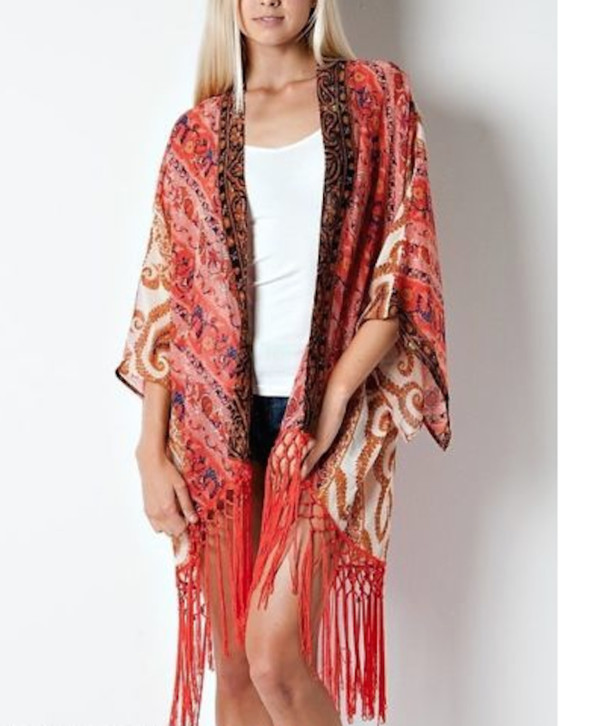 cardigan duster fringes fringe kimono paisley red vintage kimono cover up boho boho chic fall outfits fall sweater