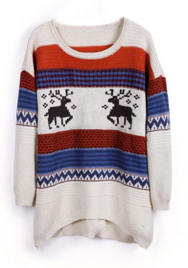 Beige Deer Striped Pattern High-Low Pullover Sweater
