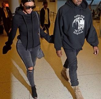sweater kim kardashian kim kardashian style outfit tumblr outfit black sweater grey hoodie menswear black