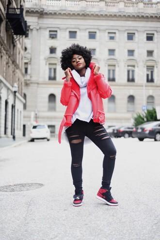 skinny hipster blogger make-up jacket sweater jeans