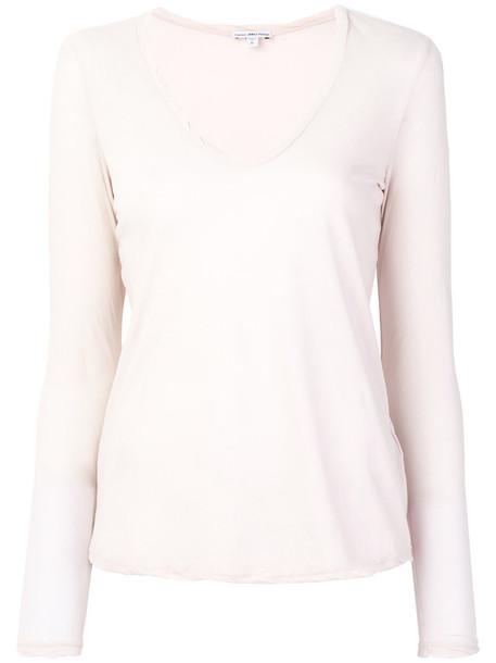 James Perse - v-neck jersey shirt - women - Cotton - 1, Pink/Purple, Cotton