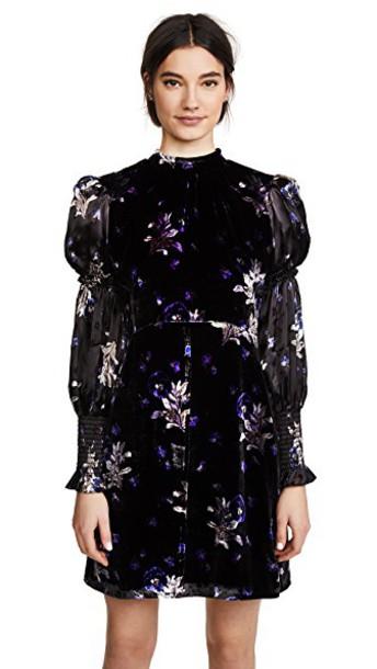 Rebecca Taylor dress velvet dress velvet violet black
