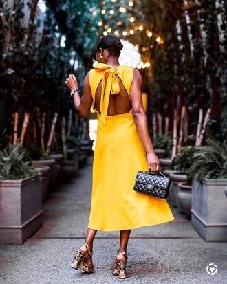 dress open back open back dresses backless backless dress sexy sexy dress sandals sandal heels midi dress yellow yellow dress