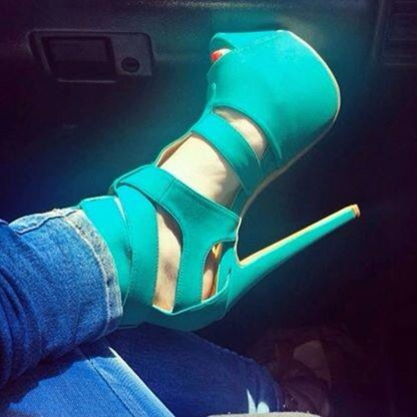 shoes turquoise high heels