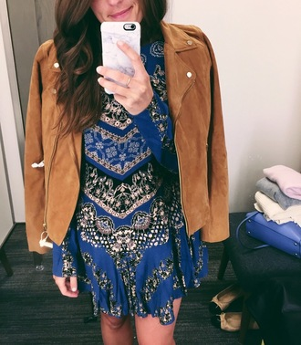 sequins and stripes blogger shoes belt sunglasses jacket suede jacket brown jacket blue dress mini dress