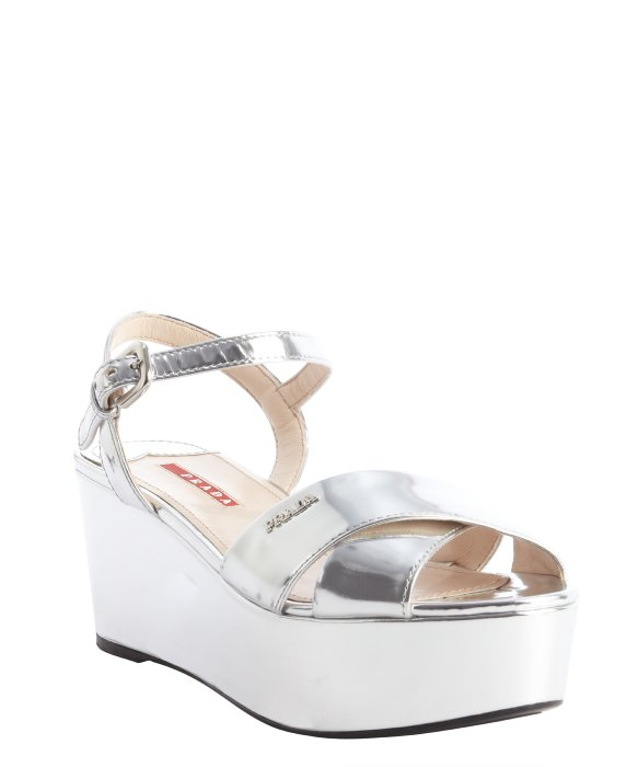 Prada silver leather cross strap platform sandals | BLUEFLY up to 70% off designer brands