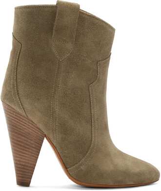 boots ankle boots suede green shoes