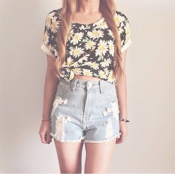 shirt flower crop tops tie shirt black daisies