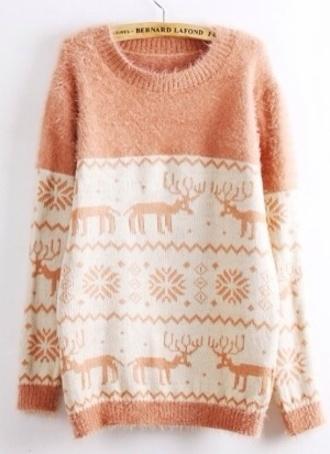 sweater pink christmas deer