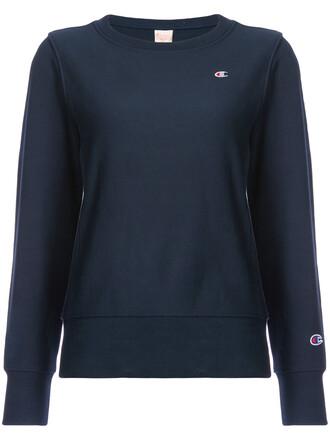 sweatshirt crewneck sweatshirt women cotton blue sweater