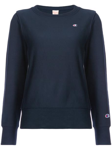 Champion - crewneck sweatshirt - women - Cotton/Polyester - L, Blue, Cotton/Polyester