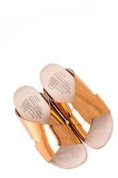 shoes,metallic slides,slide shoes,gold shoes,flat sandals