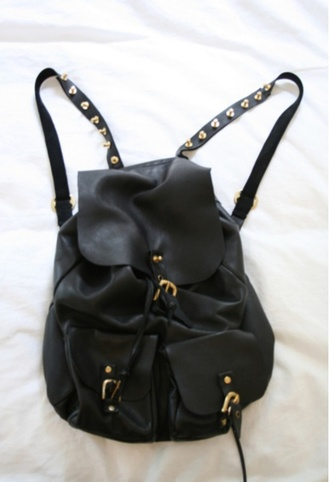 bag leather backpack studded black gold leather backpack grunge wishlist