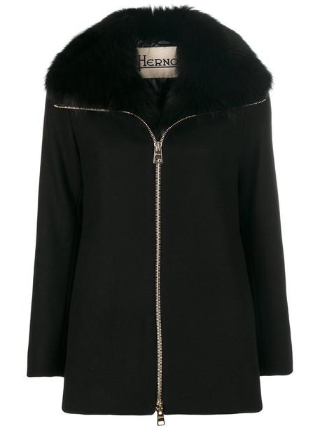 Herno coat fur fox women black wool