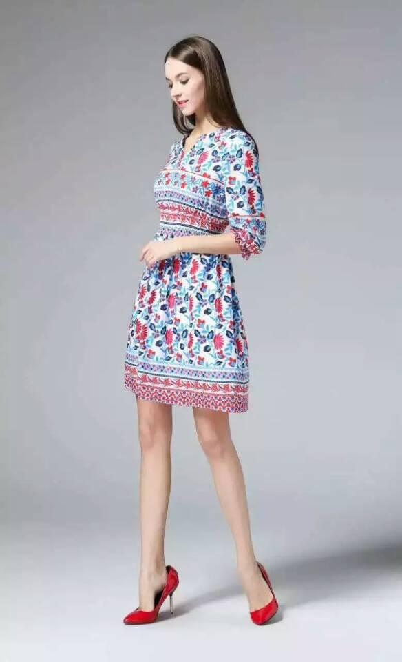 Blue / White Half Sleeved Spring Dress