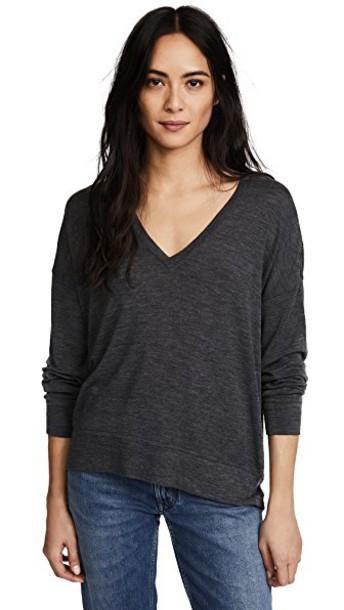 sweater v neck grey heather grey