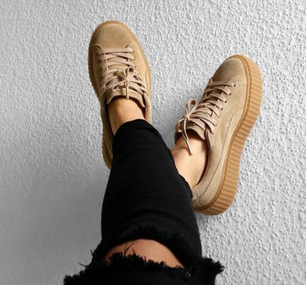 shoes, puma, suede, puma x rihanna, puma creepers, girly