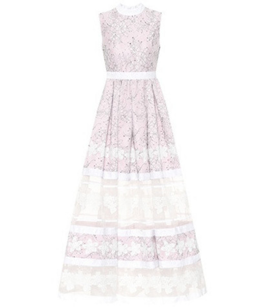 Huishan Zhang Floral lace gown in pink