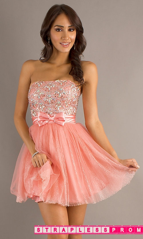 Top Designer Coral Pink Short Prom Dress By Dave And Johnny 8763 Now